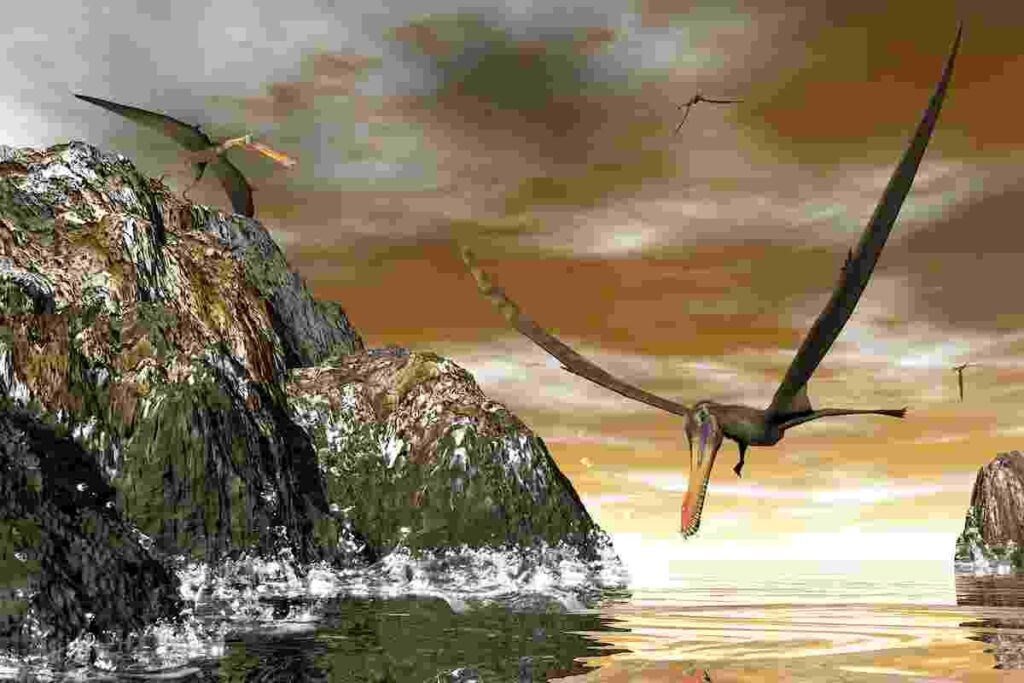 pterodactyls-hunted-over-the-water-for-fish-AdventureDinosaurs